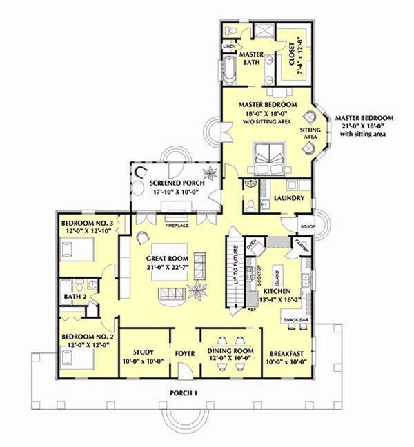 Country Floor Plan - Main Floor Plan #44-182