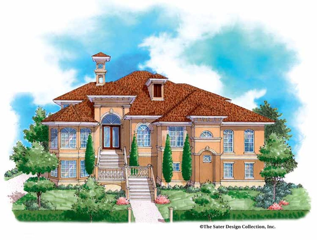 The Sater Design Collection mediterranean style house plan - 5 beds 4.5 baths 4139 sq/ft plan #930-131