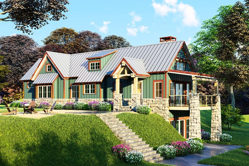 Craftsman Exterior - Front Elevation Plan #923-23