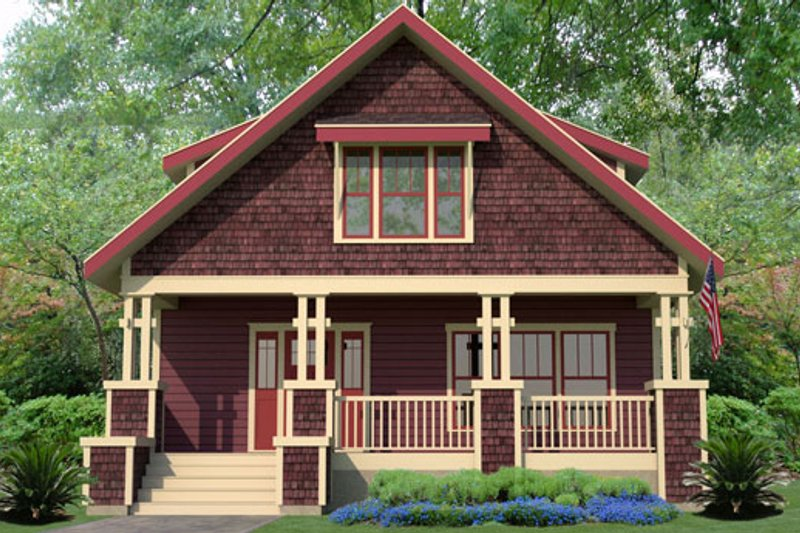 Craftsman Style House Plan - 3 Beds 2.5 Baths 1865 Sq/Ft Plan #461-32 Exterior - Front Elevation