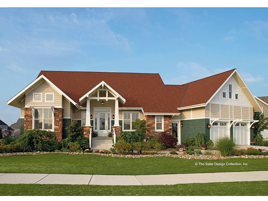 The Sater Design Collection craftsman style house plan - 4 beds 2.5 baths 2904 sq/ft plan #930-356