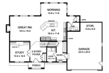 Colonial Floor Plan - Main Floor Plan Plan #1010-154