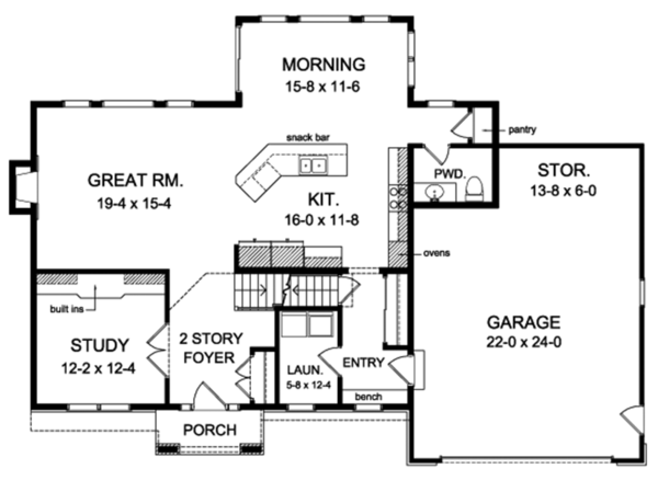 House Plan Design - Colonial Floor Plan - Main Floor Plan #1010-154