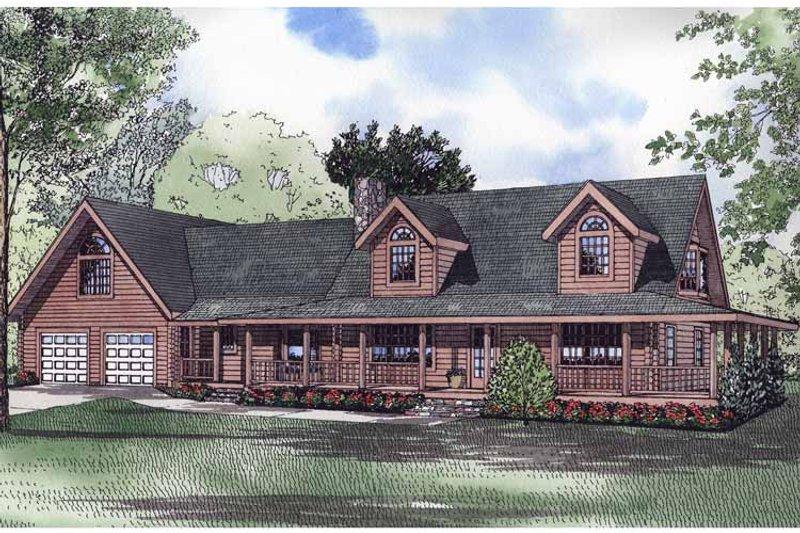 Log Exterior - Front Elevation Plan #17-2959 - Houseplans.com