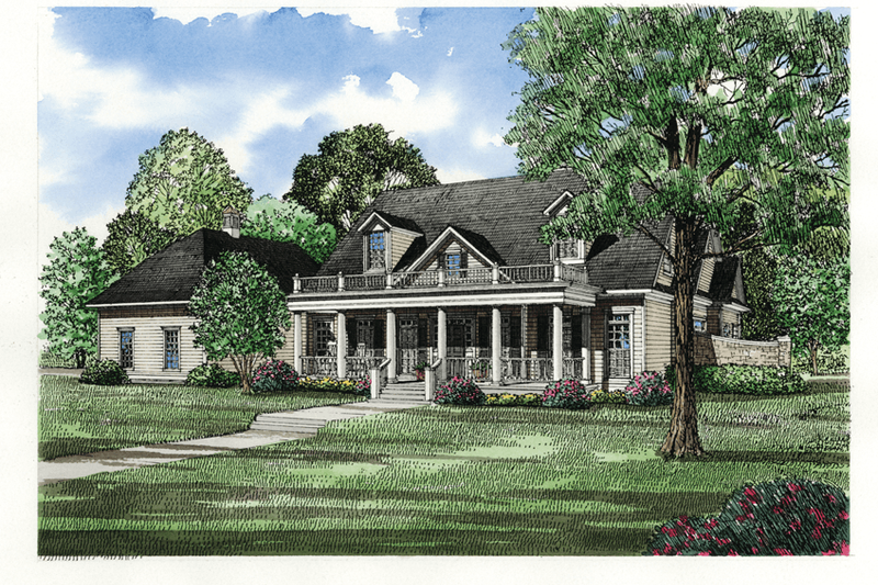 Traditional Style House Plan - 4 Beds 4.5 Baths 3740 Sq/Ft Plan #17-225 Exterior - Front Elevation