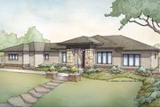 Prairie Style House Plan - 5 Beds 3 Baths 3718 Sq/Ft Plan #928-279 Exterior - Front Elevation
