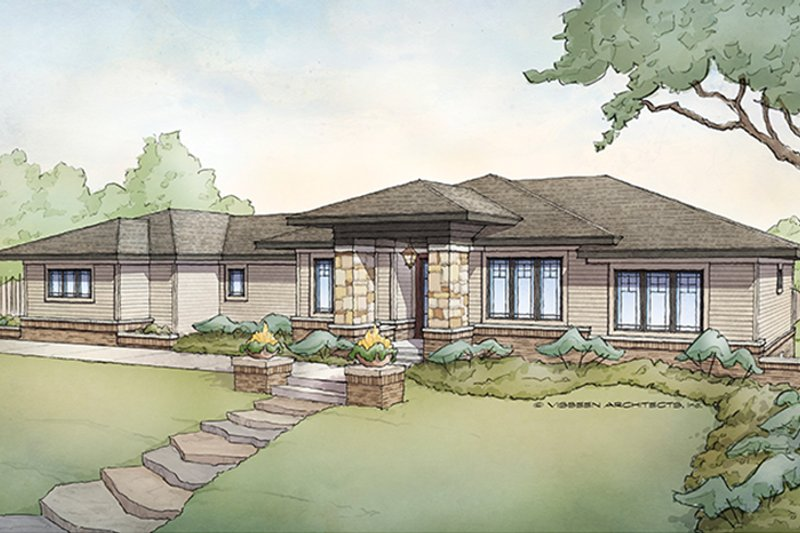 Prairie Exterior - Front Elevation Plan #928-279