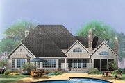 European Style House Plan - 4 Beds 3 Baths 2453 Sq/Ft Plan #929-3 Exterior - Rear Elevation