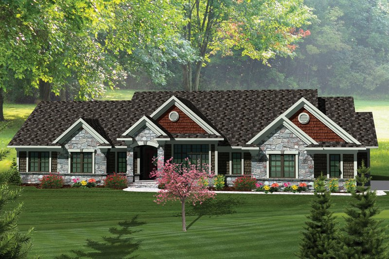 Ranch Exterior - Front Elevation Plan #70-1057
