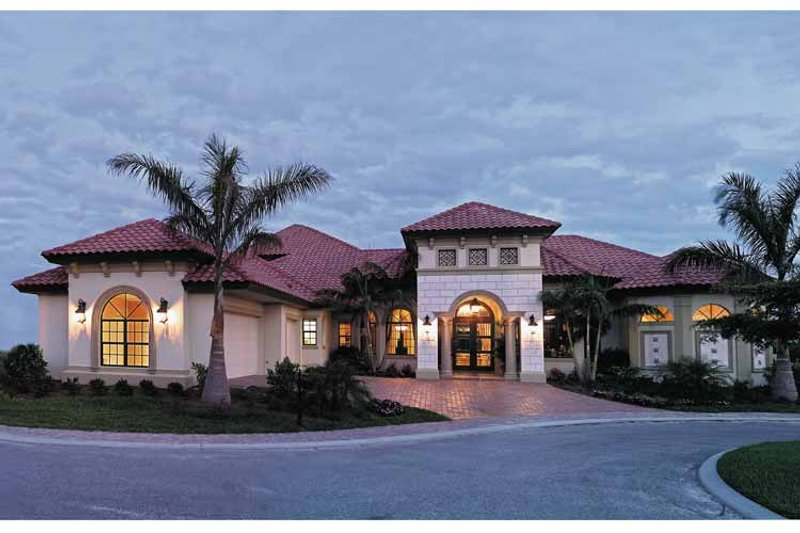 Mediterranean Style House Plan - 4 Beds 4.5 Baths 4951 Sq/Ft Plan #930-353 Exterior - Front Elevation