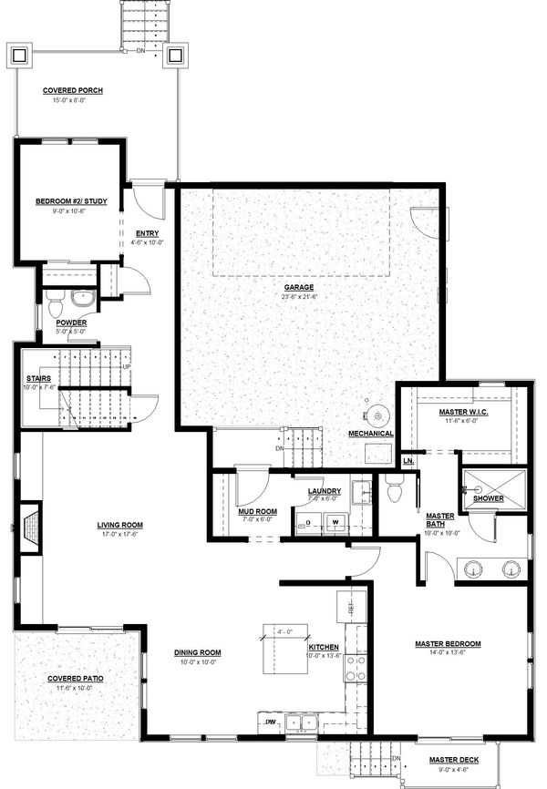 Craftsman Floor Plan - Main Floor Plan Plan #895-100