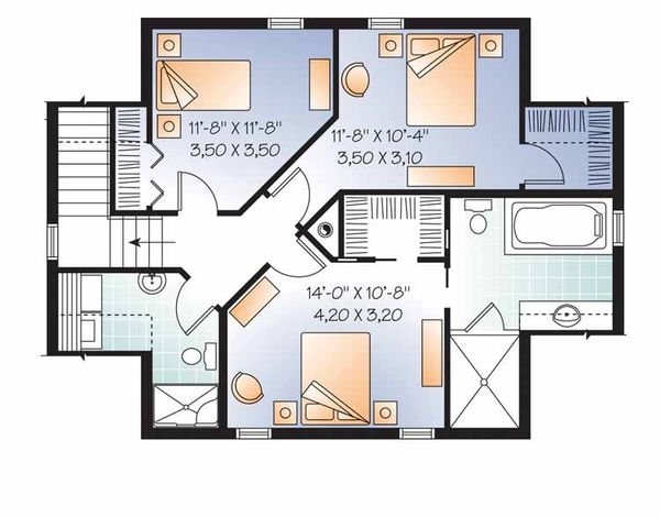 Colonial Floor Plan - Upper Floor Plan Plan #23-2487