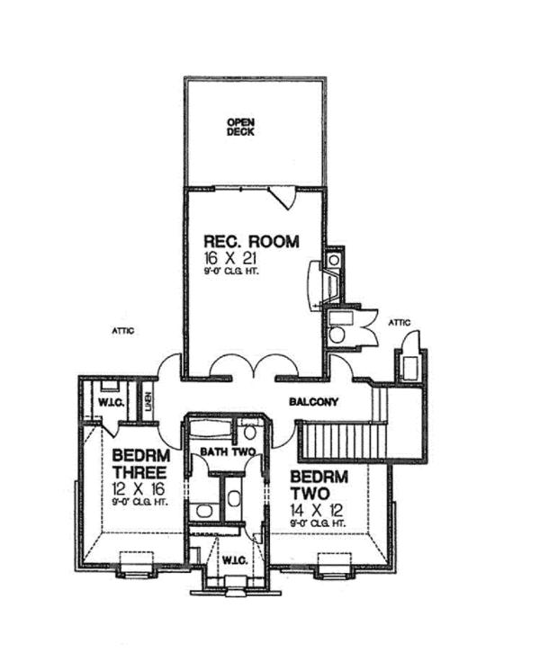 House Plan Design - European Floor Plan - Upper Floor Plan #310-1256