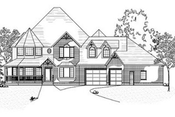 Victorian Exterior - Front Elevation Plan #5-204