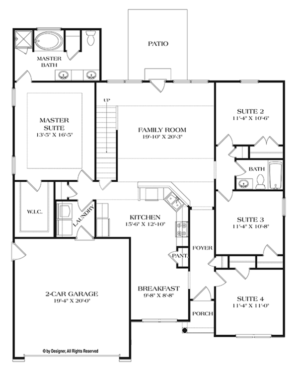 Ranch Floor Plan - Main Floor Plan Plan #453-630