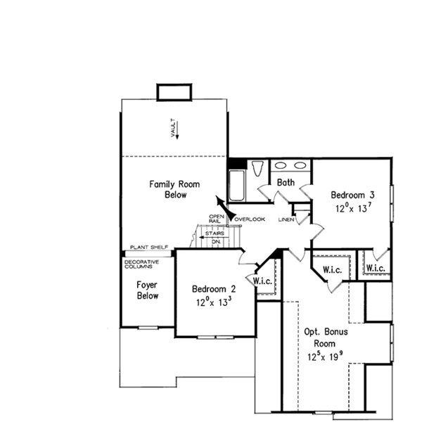 European Floor Plan - Upper Floor Plan Plan #927-931