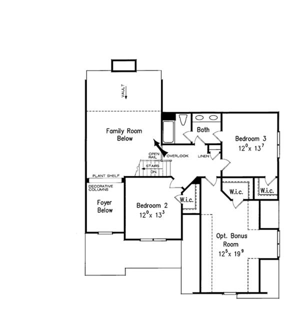 House Design - European Floor Plan - Upper Floor Plan #927-931