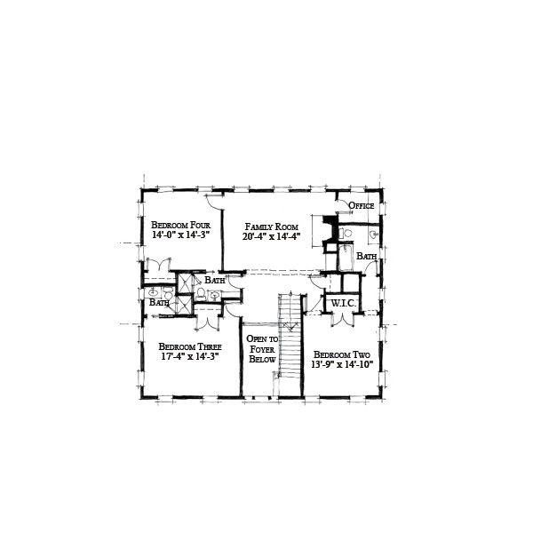 Southern Floor Plan - Upper Floor Plan Plan #464-12