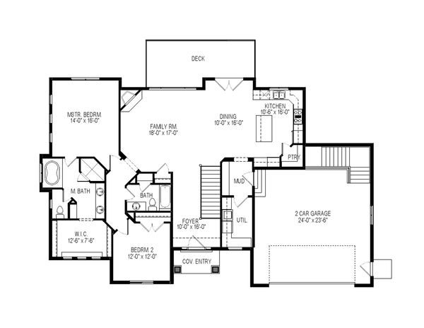 Craftsman Floor Plan - Main Floor Plan Plan #920-108