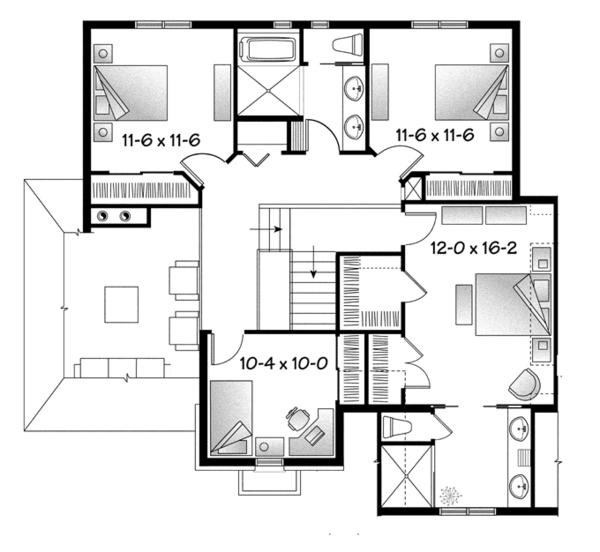 House Plan Design - European Floor Plan - Upper Floor Plan #23-2579