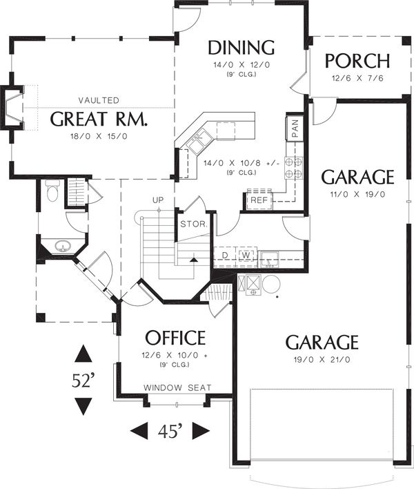 Craftsman Floor Plan - Main Floor Plan Plan #48-118