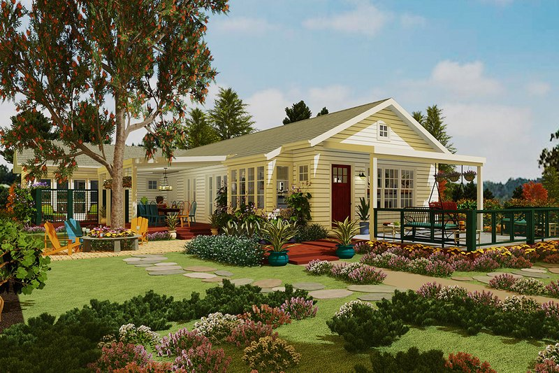 Country Style House Plan - 2 Beds 3 Baths 1851 Sq/Ft Plan #917-43 Exterior - Front Elevation