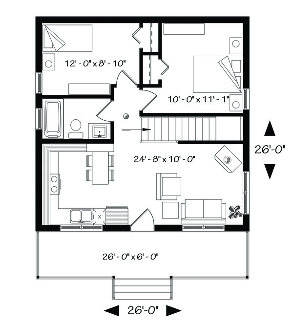 Cabin Floor Plan - Main Floor Plan Plan #23-2301
