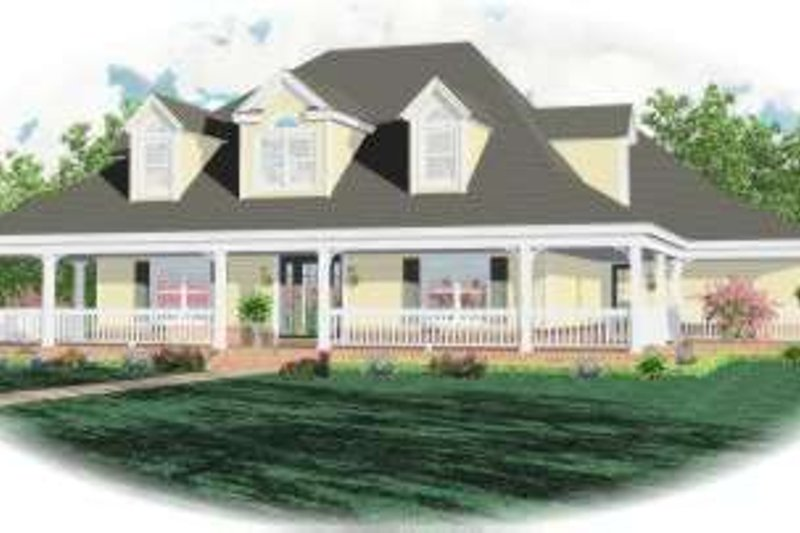 Traditional Style House Plan - 4 Beds 3.5 Baths 3500 Sq/Ft Plan #81-1491 Exterior - Front Elevation