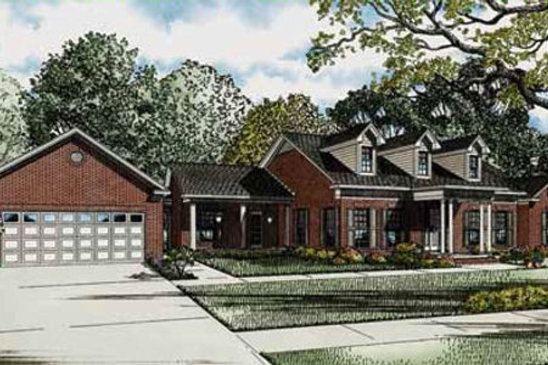 Country Style House Plan - 3 Beds 2 Baths 3009 Sq/Ft Plan #17-2352 Exterior - Front Elevation