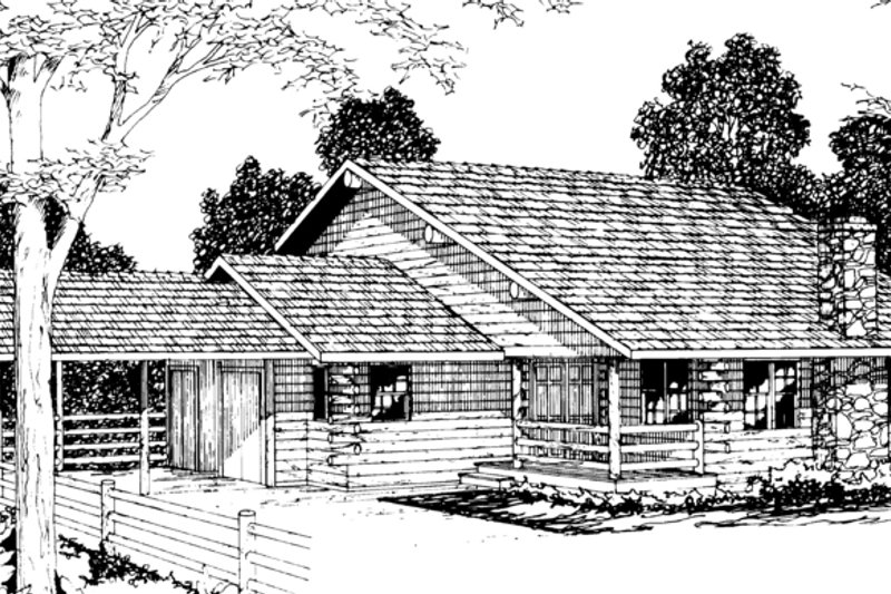 Log Exterior - Front Elevation Plan #124-314