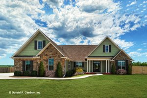 Ranch Exterior - Front Elevation Plan #929-1002
