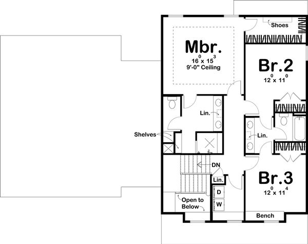 Bungalow Floor Plan - Upper Floor Plan Plan #455-220