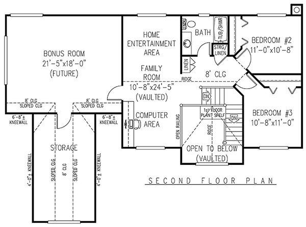 Country Floor Plan - Upper Floor Plan Plan #11-224
