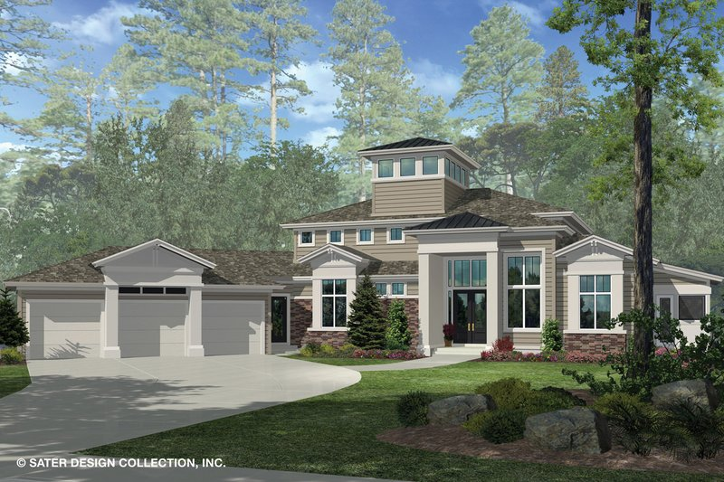 Contemporary Style House Plan - 3 Beds 3.5 Baths 4560 Sq/Ft Plan #930-506 Exterior - Front Elevation