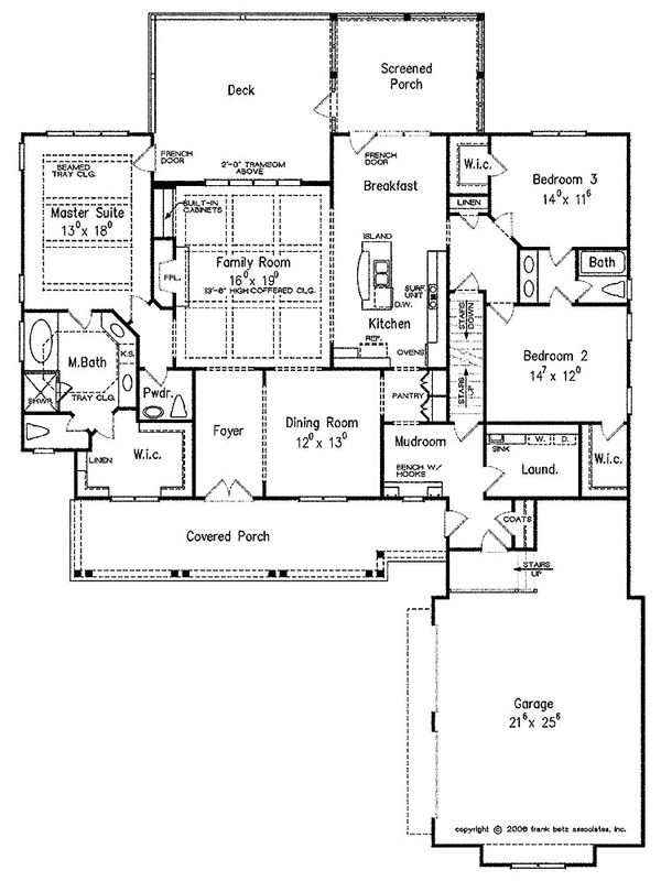 Craftsman Floor Plan - Main Floor Plan Plan #927-2