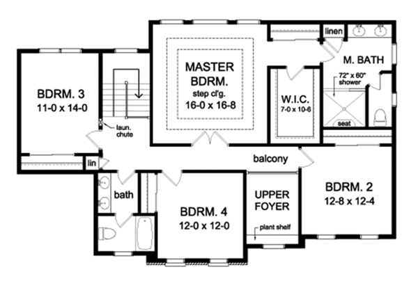Colonial Floor Plan - Upper Floor Plan Plan #1010-167