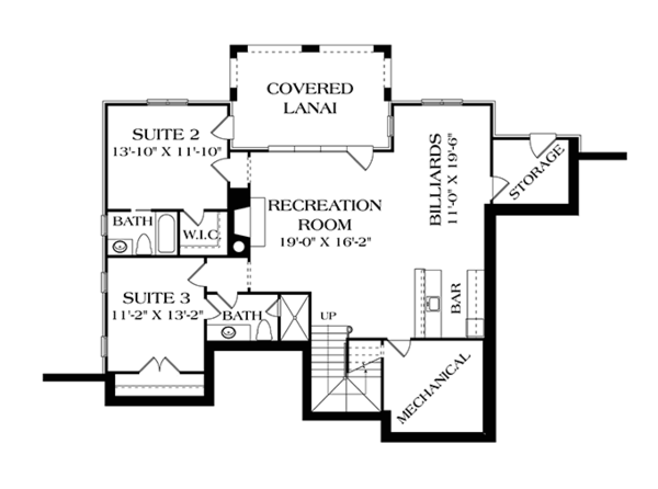 Country Floor Plan - Lower Floor Plan Plan #453-616