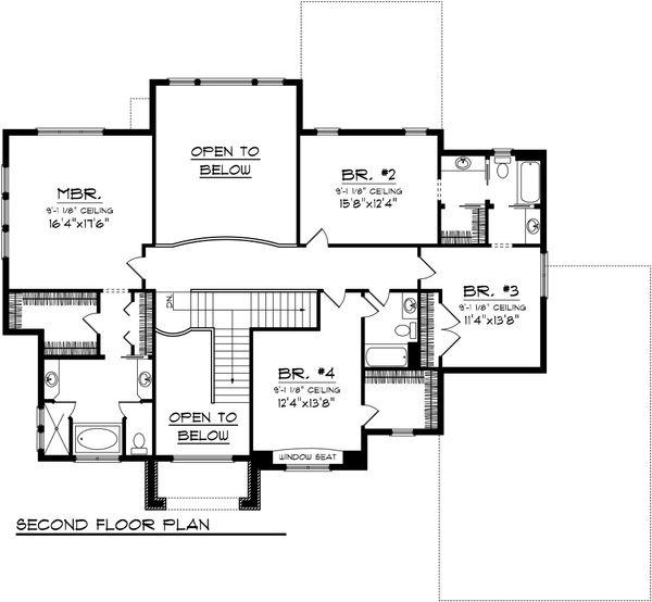 European Floor Plan - Upper Floor Plan Plan #70-1090