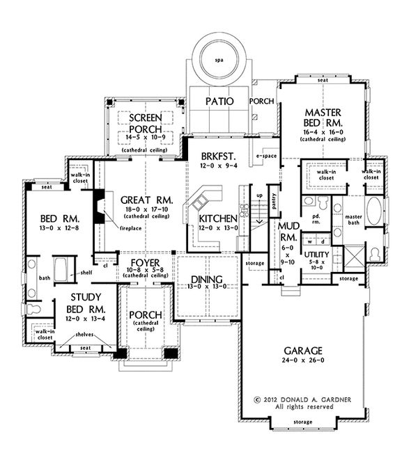 Dream House Plan - European Floor Plan - Main Floor Plan #929-956