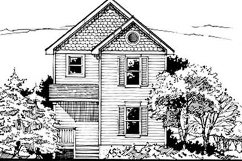 Cottage Style House Plan - 3 Beds 1.5 Baths 976 Sq/Ft Plan #50-237 Exterior - Front Elevation
