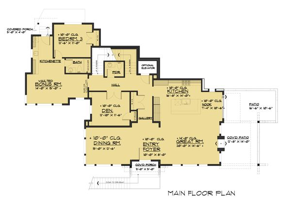 Modern Floor Plan - Main Floor Plan Plan #1066-43