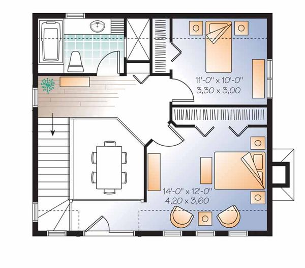 European Floor Plan - Upper Floor Plan Plan #23-2493