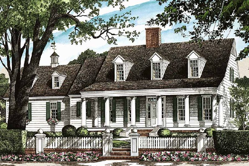 Southern Exterior - Front Elevation Plan #137-123 - Houseplans.com