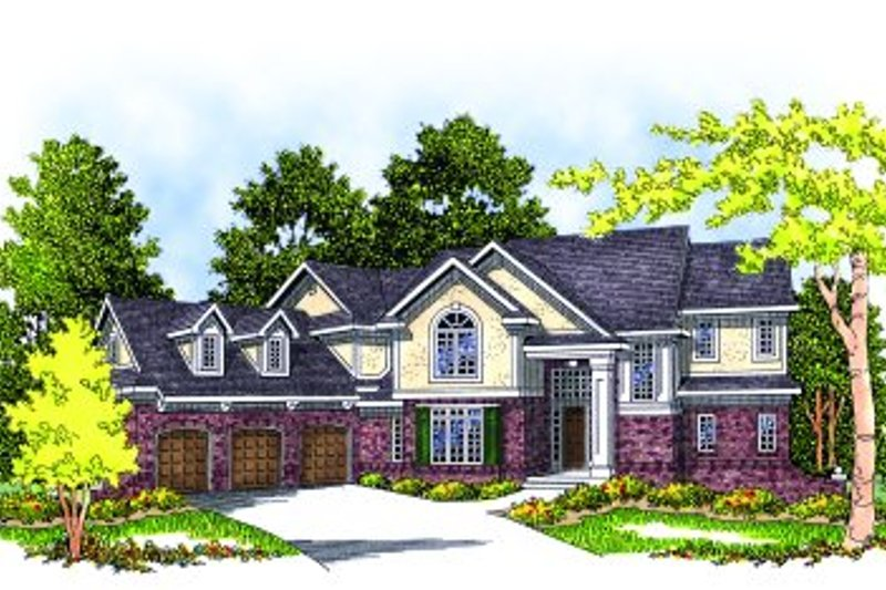 European Style House Plan - 4 Beds 3.5 Baths 3912 Sq/Ft Plan #70-525 Exterior - Front Elevation