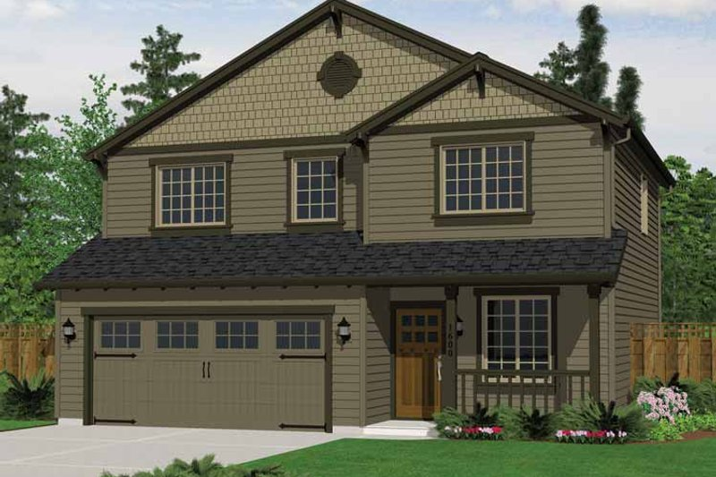 Craftsman Style House Plan - 3 Beds 2.5 Baths 1600 Sq/Ft Plan #943-18 Exterior - Front Elevation
