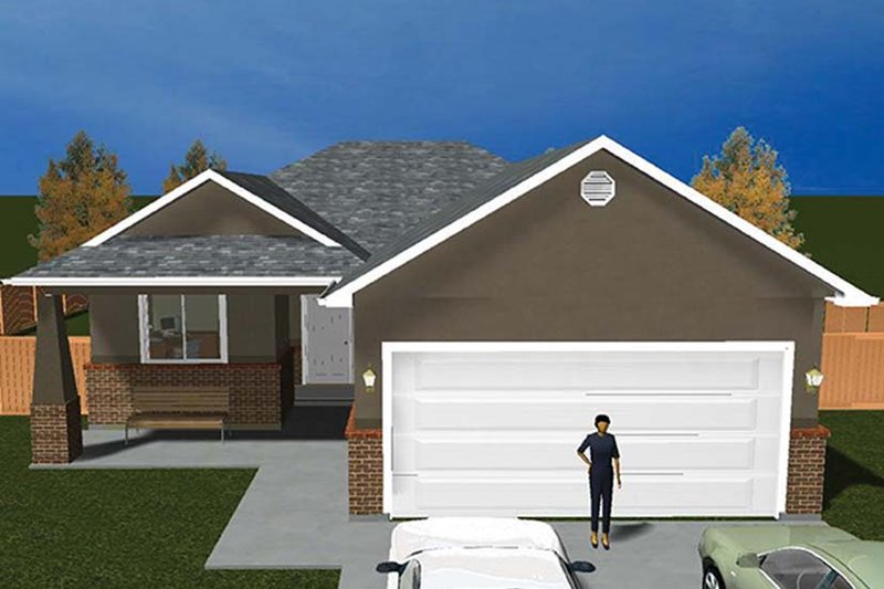 Ranch Exterior - Front Elevation Plan #1060-9 - Houseplans.com