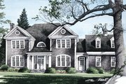 Country Style House Plan - 5 Beds 4 Baths 3783 Sq/Ft Plan #137-210 Exterior - Front Elevation