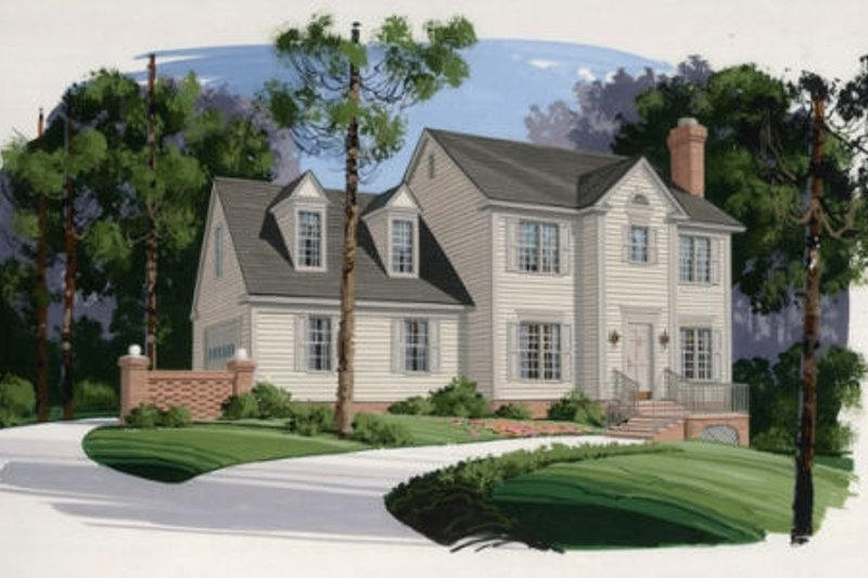 Colonial Exterior - Front Elevation Plan #56-128