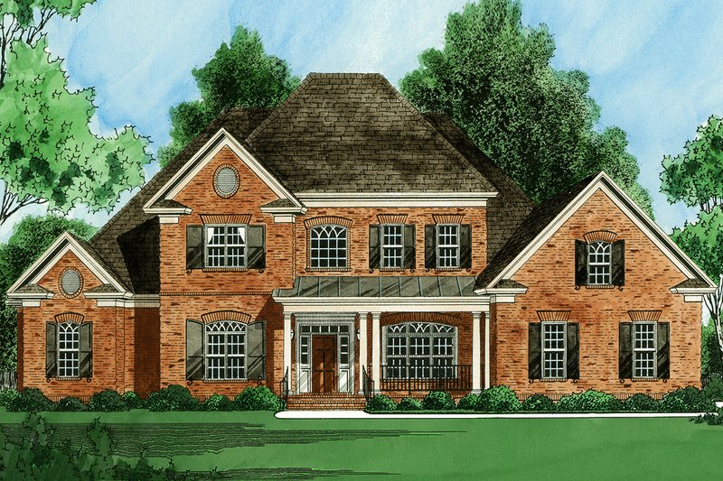 Traditional Style House Plan - 5 Beds 4.5 Baths 3754 Sq/Ft Plan #1054-23 Exterior - Front Elevation
