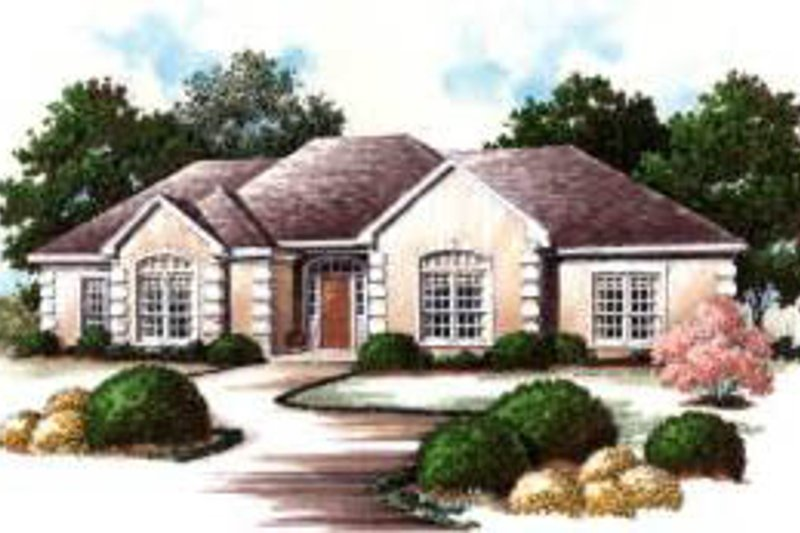 European Exterior - Front Elevation Plan #37-213